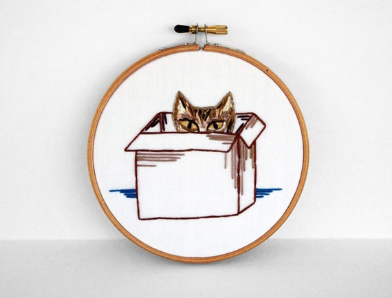 Tabby Cat in a Box - 5 inch Embroidery Hoop Art