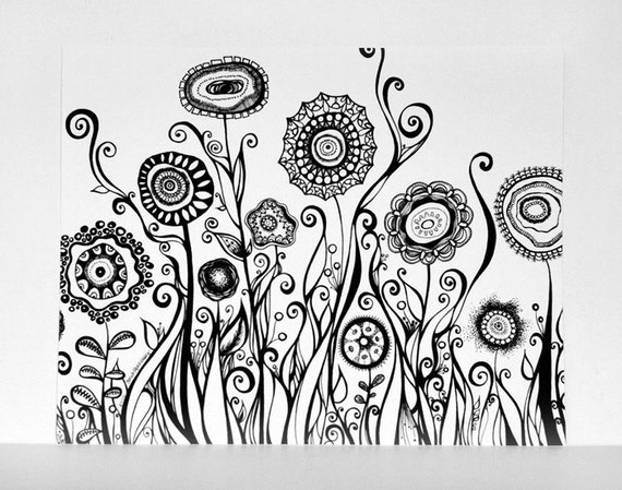 Hand Drawn Flowers Swirling Garden 8x10 Black and White Fine Art Print - Modern Art Pen Line Drawing. Abstract Botanical Illustration