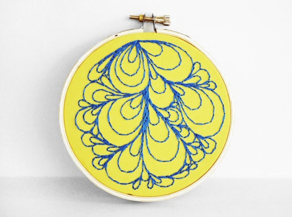 """Sunshine Yellow and Teal Blue Abstract Bubble """"Doodle"""" Embroidery Hoop, 4 inch Hoop Art"""