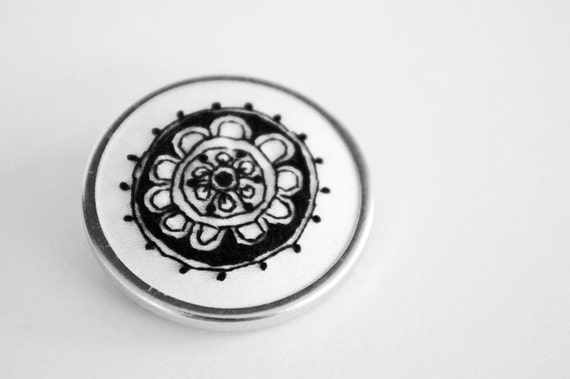 Abstract Embroidered Brooch in Black and White, A Geometric Circle Design