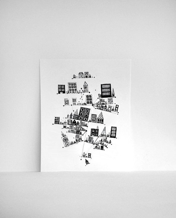 Vertical City 8x10 Black and White Print, based on my Abstract Ink Pen Line Drawing
