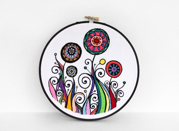 Embroidered Flower Garden in Rainbow Colors with Black Outlines, 7 inch Embroidery Hoop Wall Art by SometimesISwirl