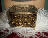 Antique 40s Gold Filigree Belveled Glass Case Box