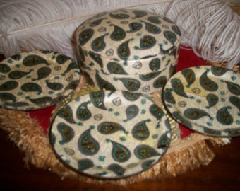Vintage 40s Paisley  Set of  Eight Coasters