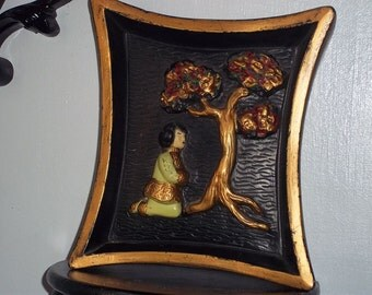Lovely 1950 Oriental Woman and Tree Chalkware wall plaque