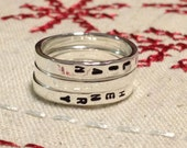 3mm Stackable Rings - Sterling Silver Custom Hand Stamped Rings - Personalized Rings - for Charity