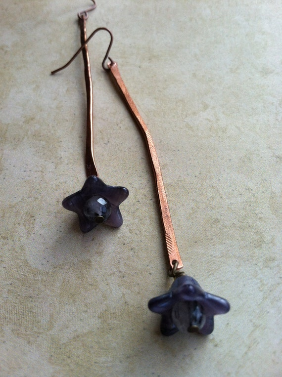 Flower Sticks - Modern Accessories - Long Copper and Purple Flower Earrings - for Charity