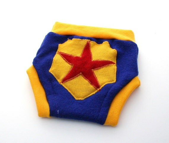 Recycled Wool Soaker Cover, Superhero, Size Medium