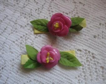 Handmade Flower Barrettes