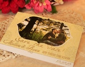 Vintage Yellow Photocard Save the Date Postcard
