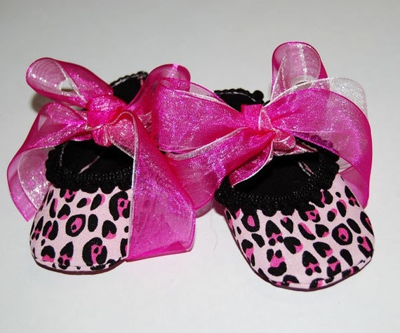 pink leopard print baby shoes by jackiepattonart on etsy