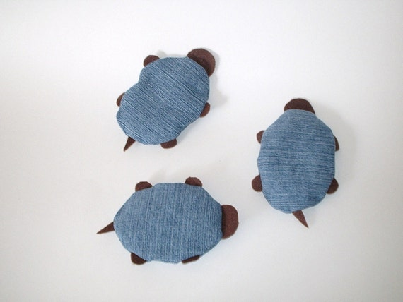 Turtle Bean Bags - made with upcycled denim