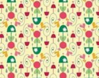 Riley Blake Designs Rainy Days and Mondays Yellow Umbrella Damask - 1 yard