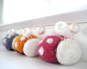 Itty Bitty Needle Felted Ladybugs - 100% Natural Wool - Rustic - Natural