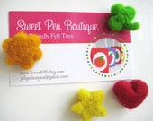 Needle Felted Fun Shaped Magnets - Set of Four - 100% Natural Wool - Rustic - Natural