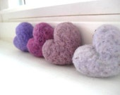 Rustic Purple Lavender Lilac Wool Needle Felted Heart Pebbles Valentine's Day Love 100% Natural Wool Rustic Favors
