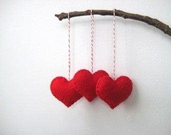 Valentine's Day Decor Red Heart Eco Felt Ornaments - Christmas Tree Ornament - Holiday Decoration