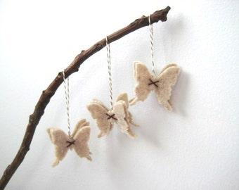 Natural Oatmeal Butterfly Eco Felt Christmas Ornaments - Handmade - Wedding Favor- Christmas Tree Ornament - Holiday Decoration