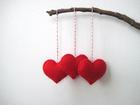 Valentine's Day Decor Red Heart Eco Felt Ornaments
