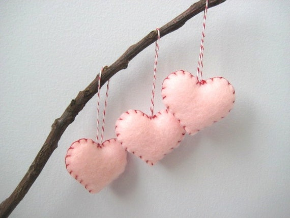 Peppermint Pink and Red Heart Eco Felt Ornaments - Handmade - Valentine's Day- Christmas Tree Ornament - Holiday Decoration
