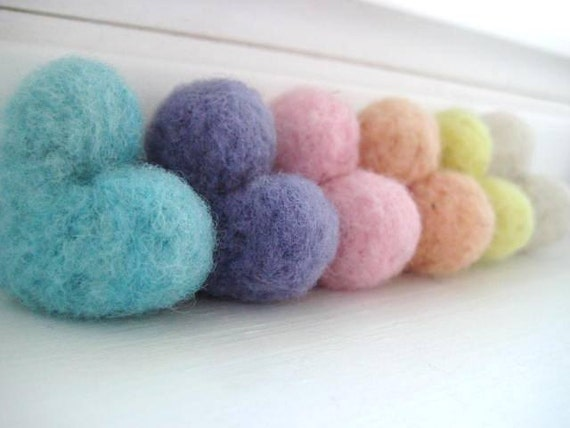 Rustic Spring Pastel Wool Needle Felted Heart Pebbles - Valentine's Day Love - 100% Natural Wool - Rustic Favors