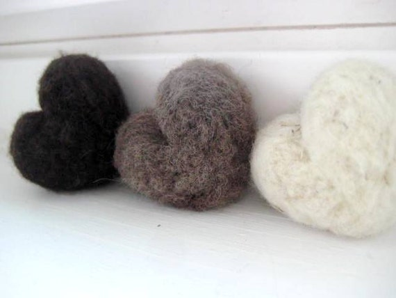 Rustic Earth tone Wool Needle Felted Heart Pebbles Chocolate Brown Ivory Home Decor 100% Natural Wool - Rustic Favors