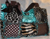 Custom Made XL Rag Quilted Diaper Bag Handbag Purse for Leopard Zebra Giraffe and Teal