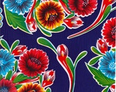 Round Oilcloth Tablecloth Bloom Royal Blue