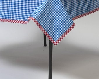 Square Blue Gingham Oilcloth Tablecloth You Pick the Size
