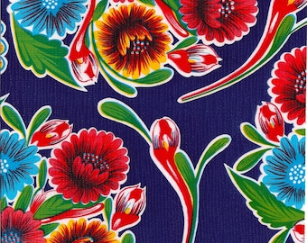 Round Oilcloth Tablecloth Bloom Navy