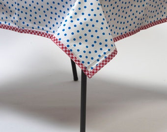 Rectangle Dot Blue Oilcloth Tablecloths with Red Gingham Trim