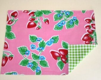 Strawberry Pink Reversible Oilcloth Placemats Set of 4
