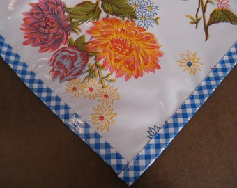 Square Mum White Oilcloth Tablecloth with Blue Gingham Trim