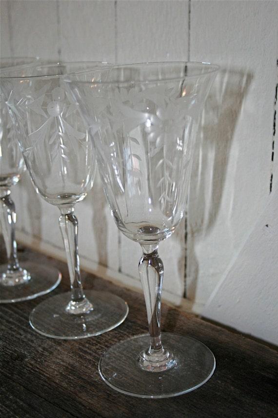 Moms Old Crystal Etched Wine Glasses