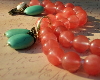 Necklace Set Pink Lemonade with Mint Necklace Cherry Quartz Vintage Clasp Turquoise Set