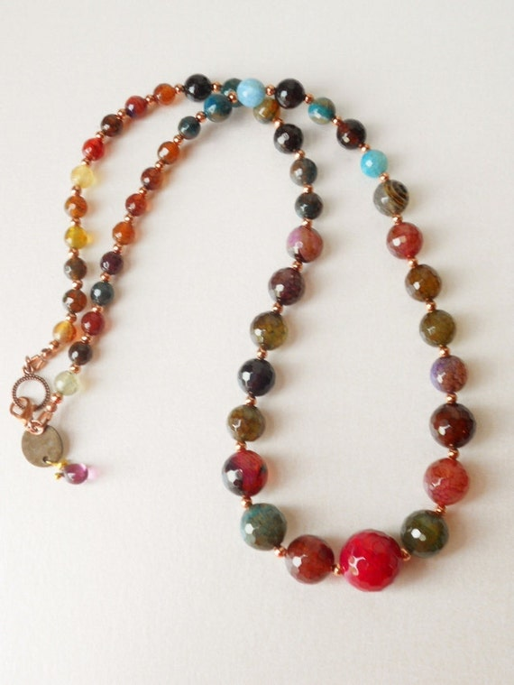 The: Juicy Berries Faceted Agate and Copper Beads Necklace