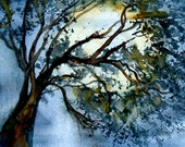 Full moon in the night sky behind a tree surreal abstract watercolor print from my original watercolor painting 8x10 matted to 11x14