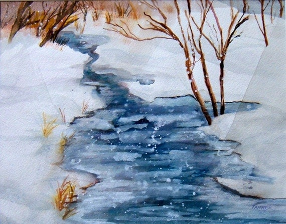 Items Similar To Original Watercolor Painting Winter