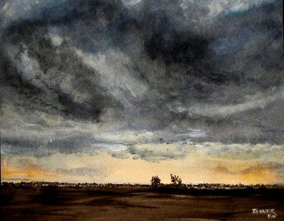 Storm Clouds Landscape Art Watercolor Print By