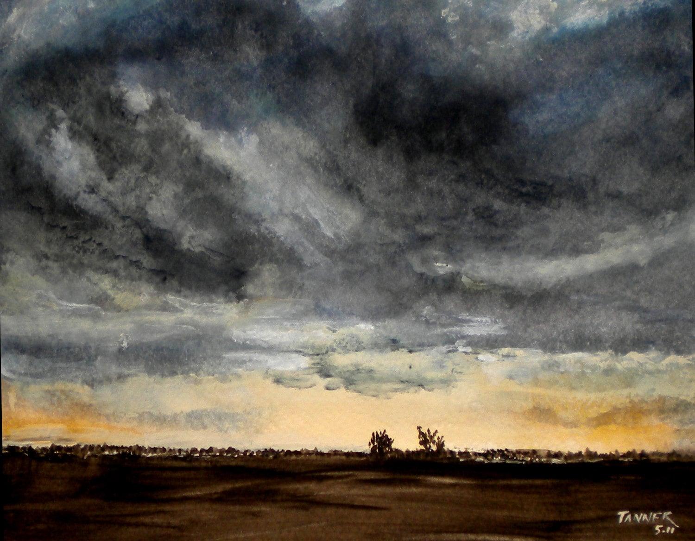 Storm Clouds Landscape Art Watercolor Print By