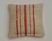 Vintage Grain Sack Lavender Sachet with Red Stripe on One side