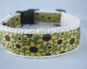 Sunflowers hemp dog collar - 3/4in