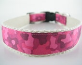 Hemp dog collar - Pink Camouflage