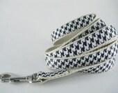 Houndstooth Black & White hemp dog leash