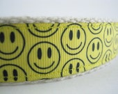 Hemp dog collar - Happy Smile Face