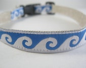 Hemp Dog Collar - Blue Ocean Waves - 3/4in