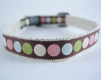 "Colorful Brown Circles organic cotton 1/2"" collar"