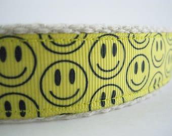 Hemp dog collar - Happy Smile Face