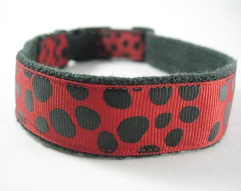 Ladybug Red and Black Spots Hemp dog collar or leash