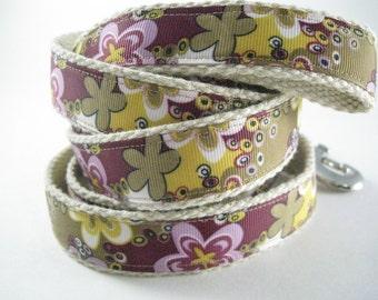 Colorful Retro Flowers hemp dog leash